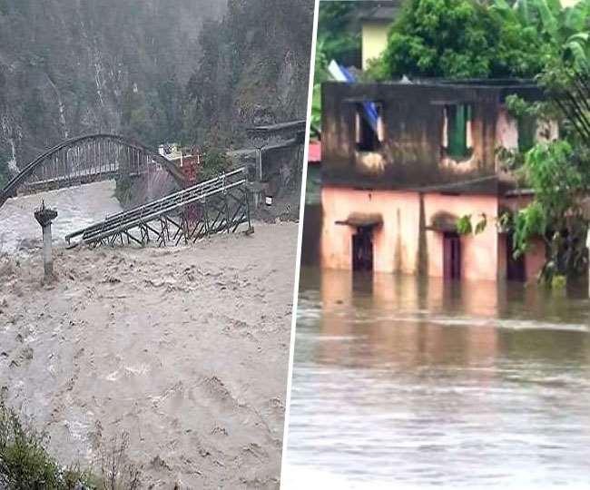 उत्तराखंड में बारिश के कहर में 55 मरे,गृह मंत्री ने किया हवाई दौरा.